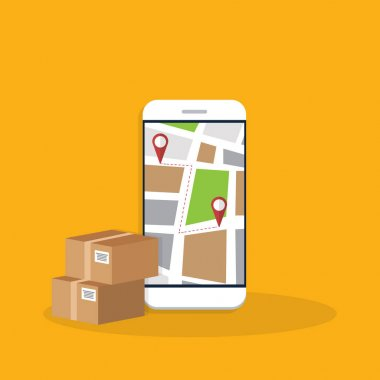 Delivery. Parcel delivery tracking on mobile phone. Smartphone with city map on screen and pin pointers, destination location with packaging boxes. icon