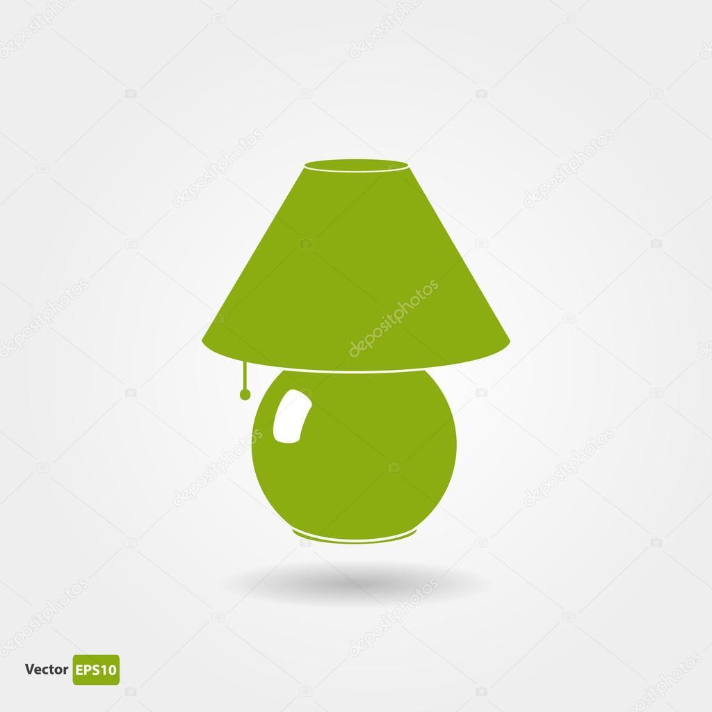 Au Large De L Icone De La Lampe De Chevet Verte Image Vectorielle