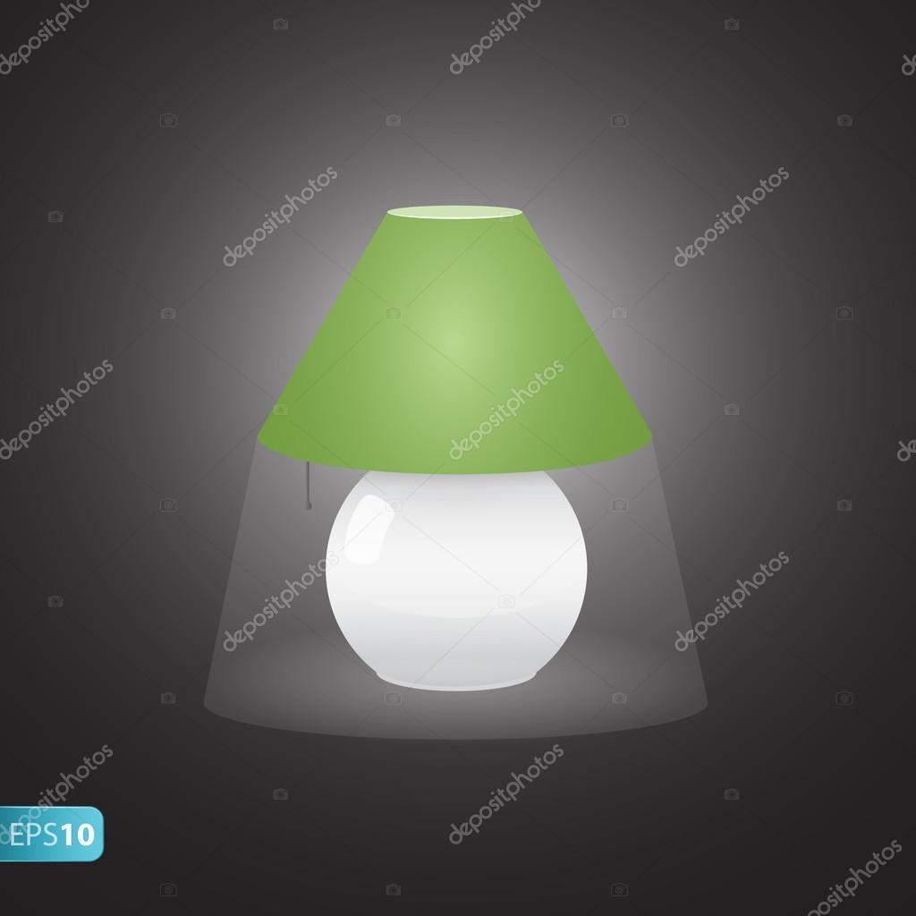 Sur L Icone De La Lampe De Chevet Verte Image Vectorielle