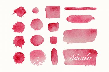 Set of red watercolor blobs and spots
