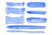 Set blauer Aquarellkleckse und Flecken