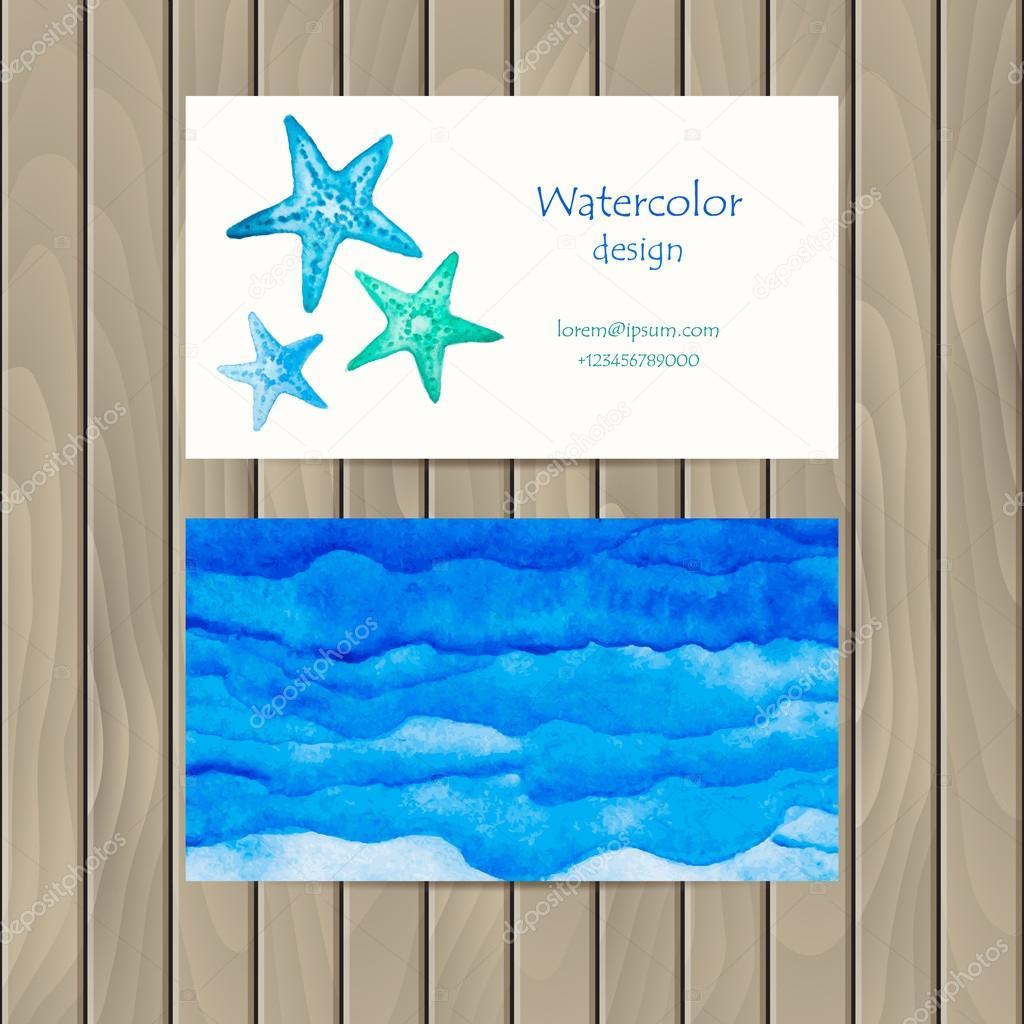 Carte De Visite Vecteur Avec Une Toile Mer Aquarelle Pour La Conception Image