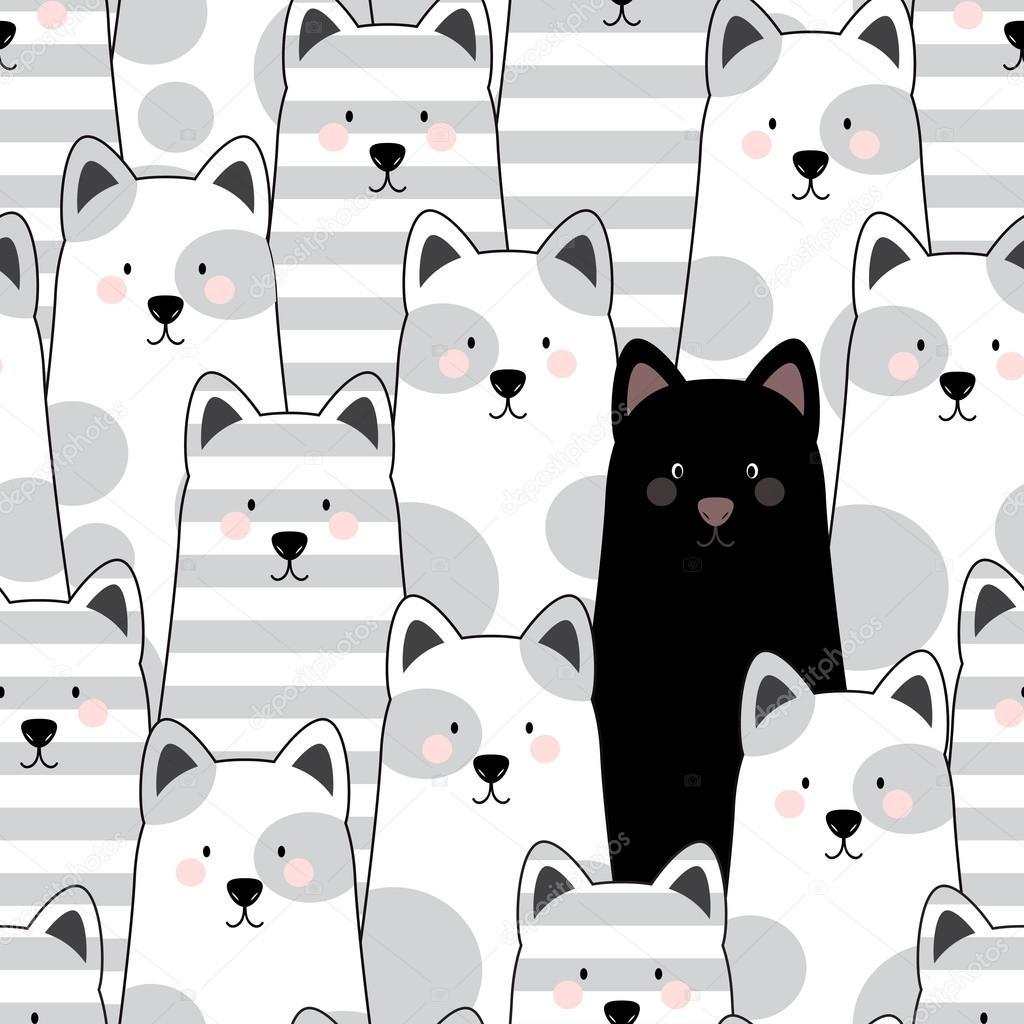 Gatos de patrones sin fisuras — Vector de stock © oksana_b. #88384434