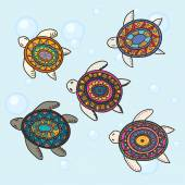 Photo Hand drawn vector colorful doodle turtle with oriental ornament.
