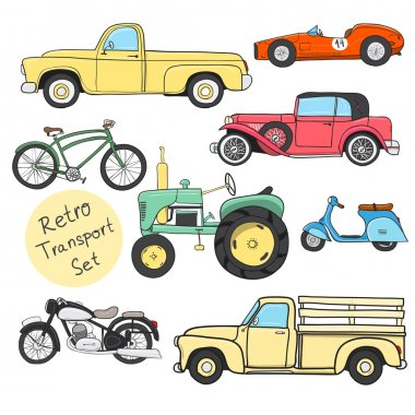 Collection of various funny hand-drawn transports - vector illustration