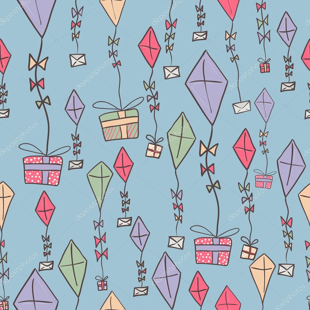 Mano dibujada cometas de color con cinta. Plantilla de festivo ...