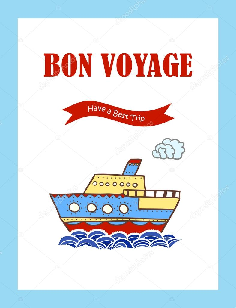 Bon voyage journey greeting card with hand drawn steamship stock bon voyage journey greeting card with hand drawn steamship vector illustration vector by baranessku m4hsunfo