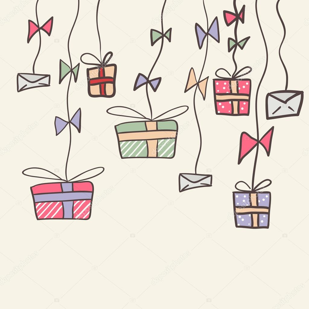 かわいいプレゼントと手紙とカードを落書き。手描きイラスト — ストック
