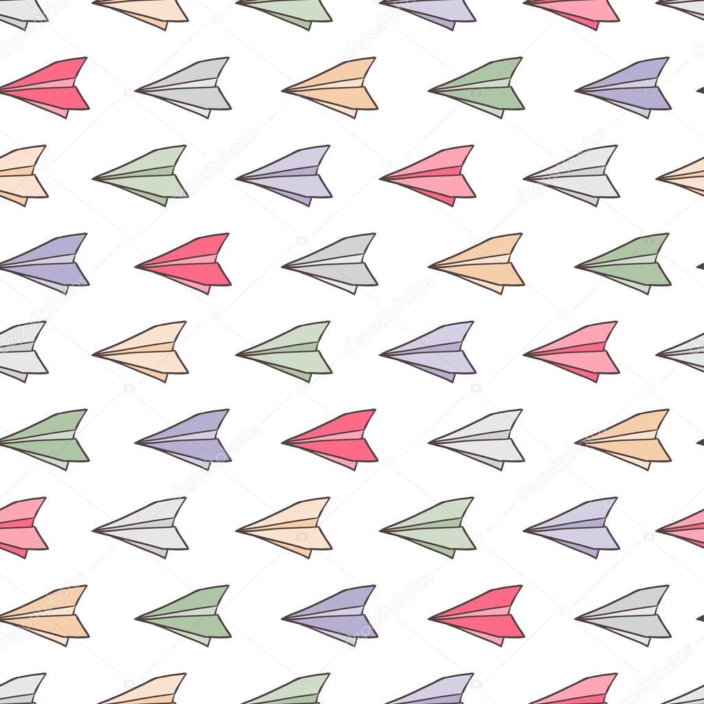 Patrón De Aviones De Papel Aviones De Papel De Color Ilustración