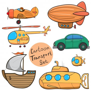 Collection of various funny hand-drawn transports - vector illus