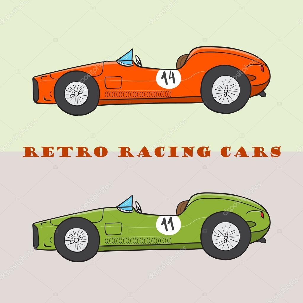 vintage cartoon racing car stock vector baranessku. Black Bedroom Furniture Sets. Home Design Ideas