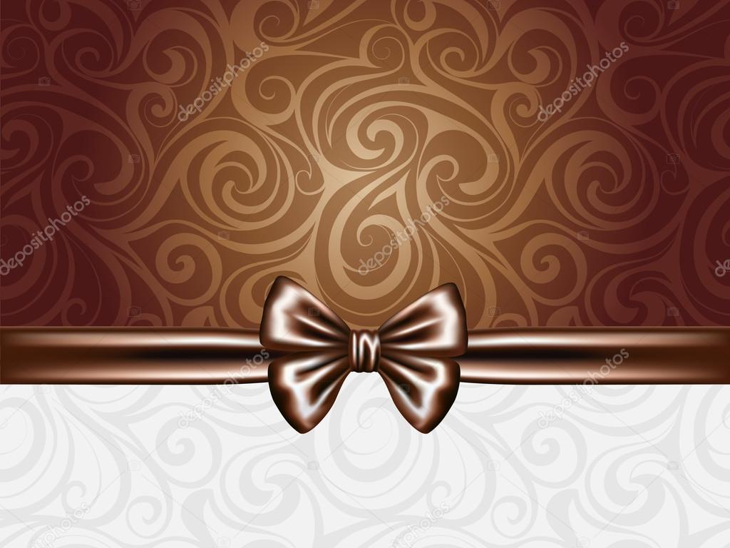 abstract chocolate background with bow and ribbons � stock