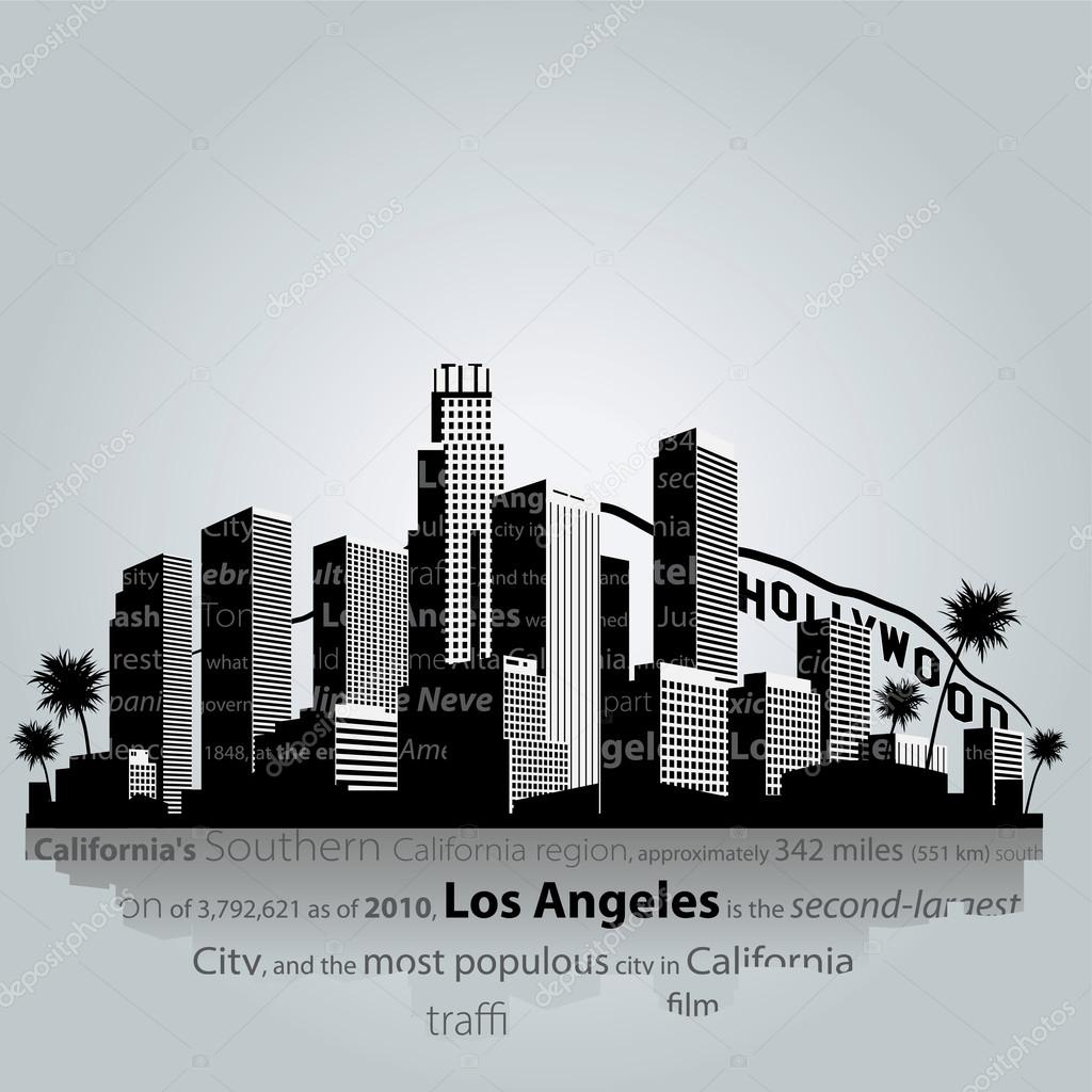 los angeles city silhouette. ⬇ vector image by © jackie2k | vector stock  73129501  depositphotos