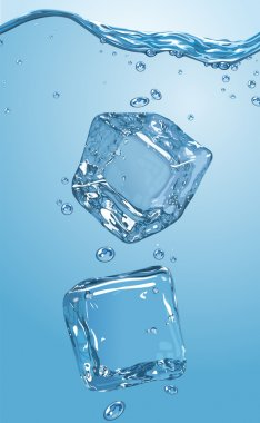 Two ice cubes dropped into water. EPS10