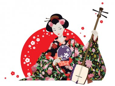 Attractive Geisha Wearing Kimono With Fan And Shamisen.