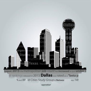 Dallas city silhouette.