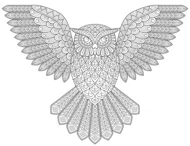 Flying owl. Adult antistress coloring page