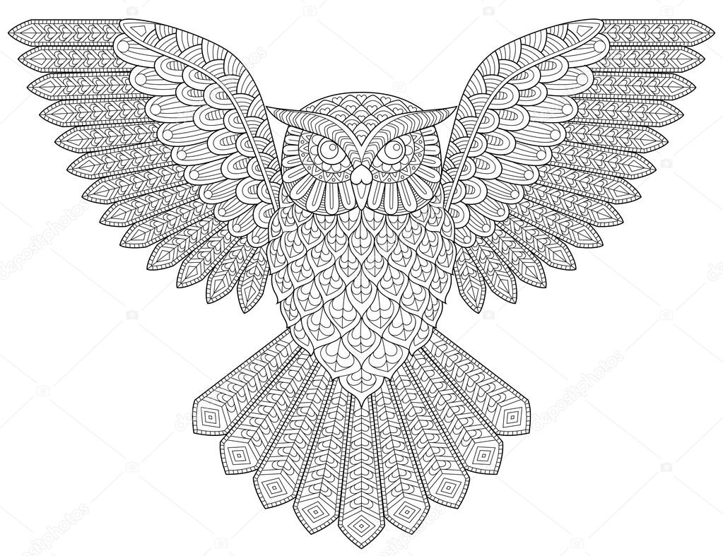 anti stress coloring pages owls - photo#12