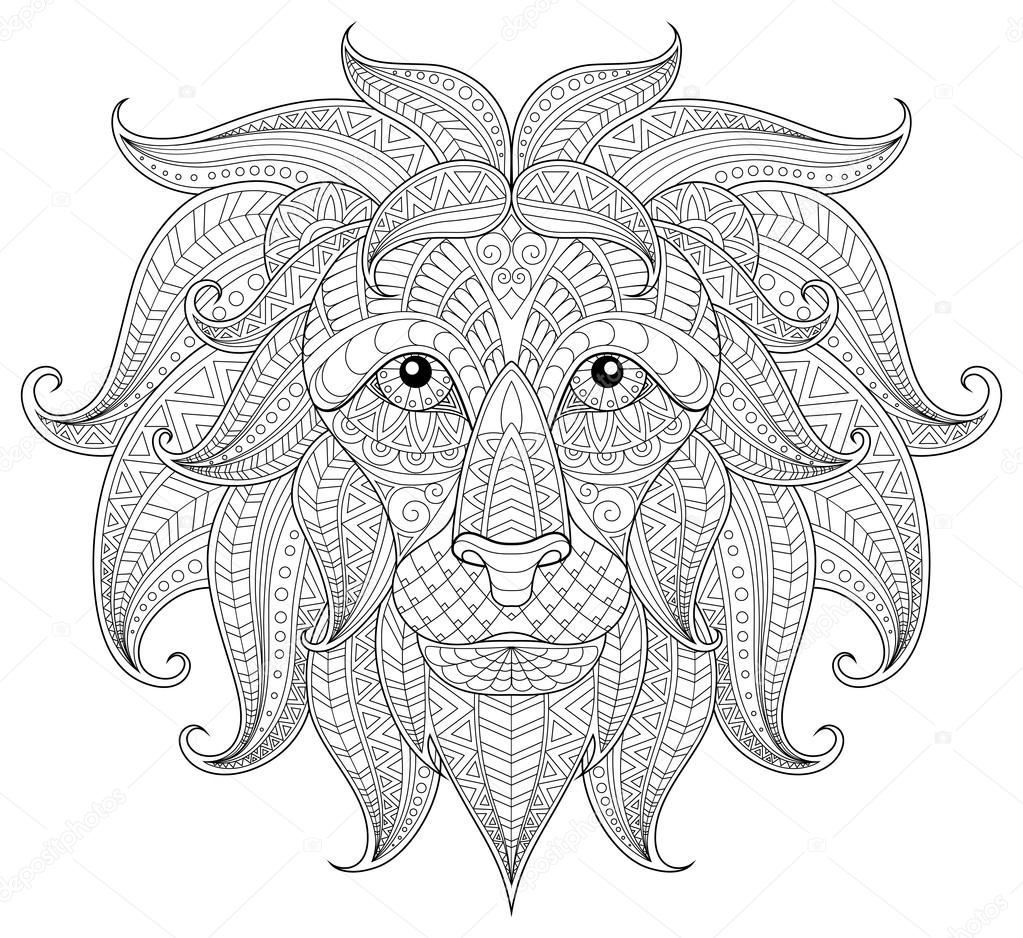 Lion Head Coloring Pages For Adults. Lion head  Adult antistress coloring page Black and white hand drawn doodle for book Vector by Alka5051 Stock
