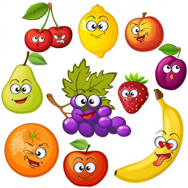 Cartoon fruit characters. Fruit emoticons