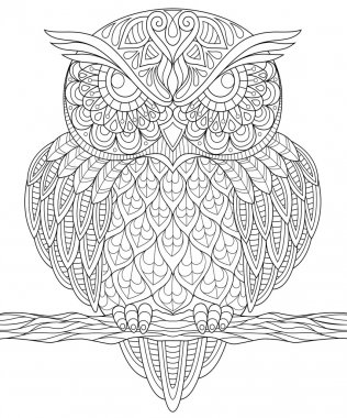 Owl. Adult anti-stress coloring page