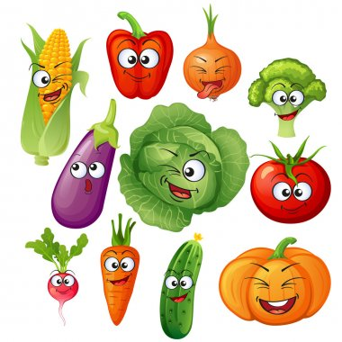 Cartoon vegetable characters. Vegetable emoticons