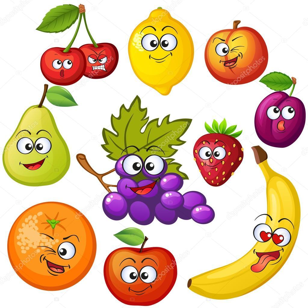 personajes de fruta de dibujos animados emoticones de frutas