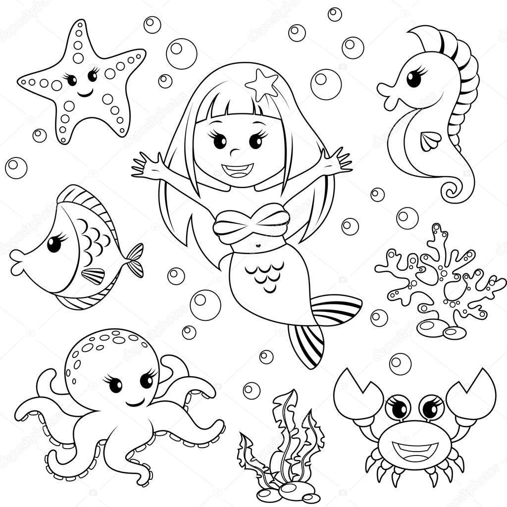 Animales de la sirena y el mar. Peces, estrellas de mar, pulpo ...