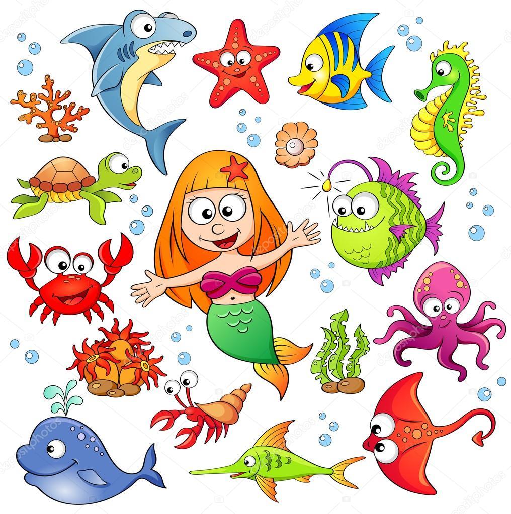 Roztomily Kresleny Morskych Zivocichu A Morska Panna Stock Vektor