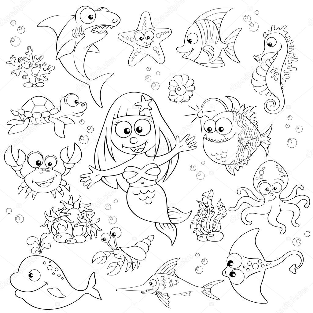 Gran conjunto de animales de dibujos animados lindo mar y sirena ...