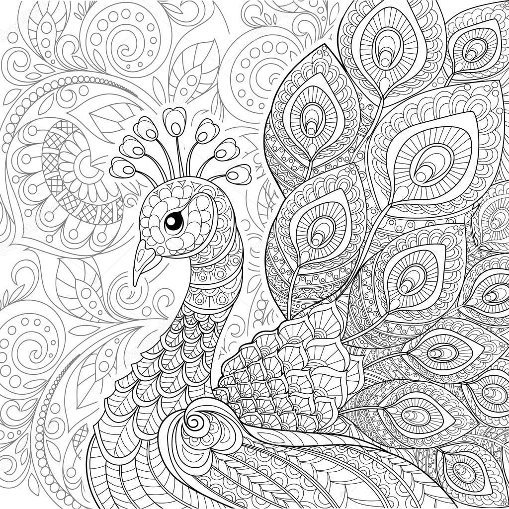 Pavo real en estilo zentangle — Vector de stock © Alka5051 #116999664