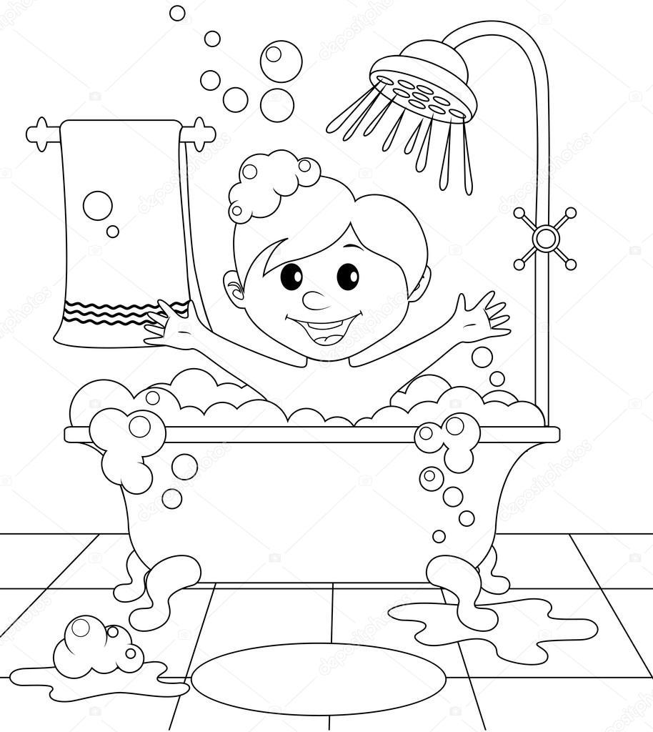 Animado Dibujo Cuarto De Baño Para Colorear Chico En El Baño