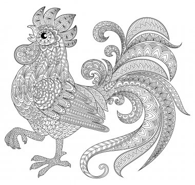 Rooster in zentangle style