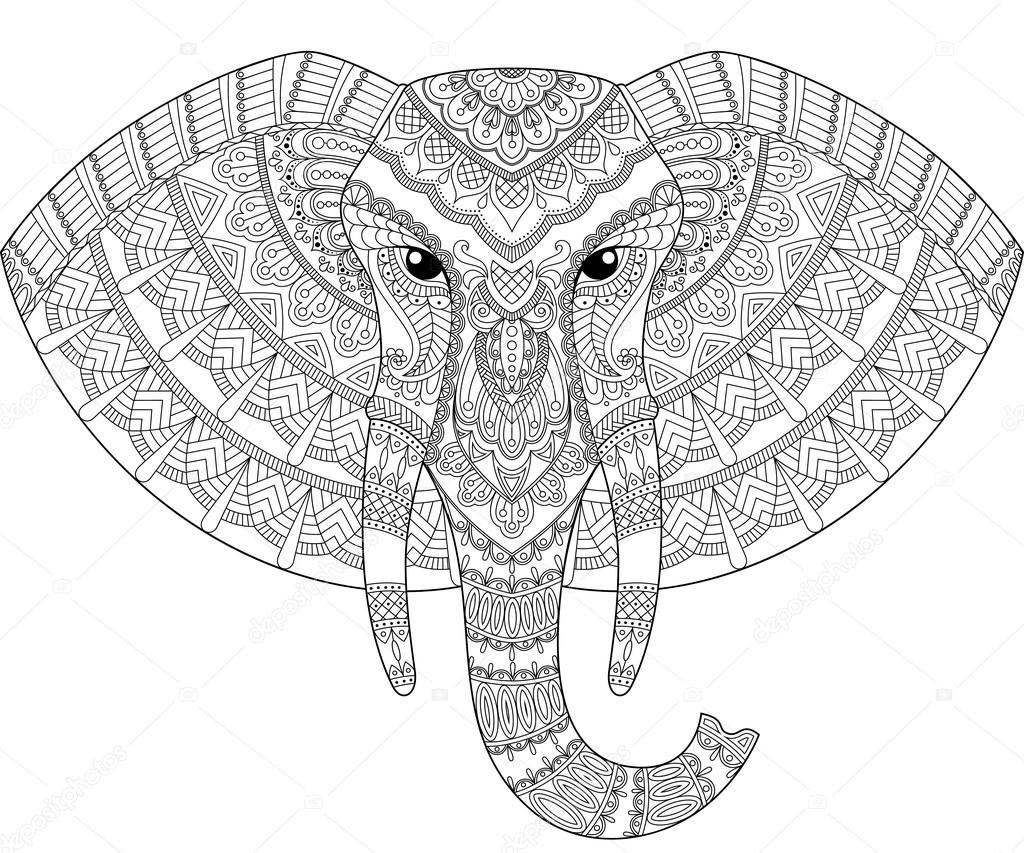 Cabeza de elefante en estilo zentangle. Página para adultos ...