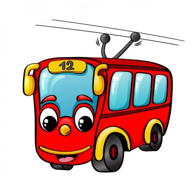Funny cartoon red trolley bus isolated on white background stock vector