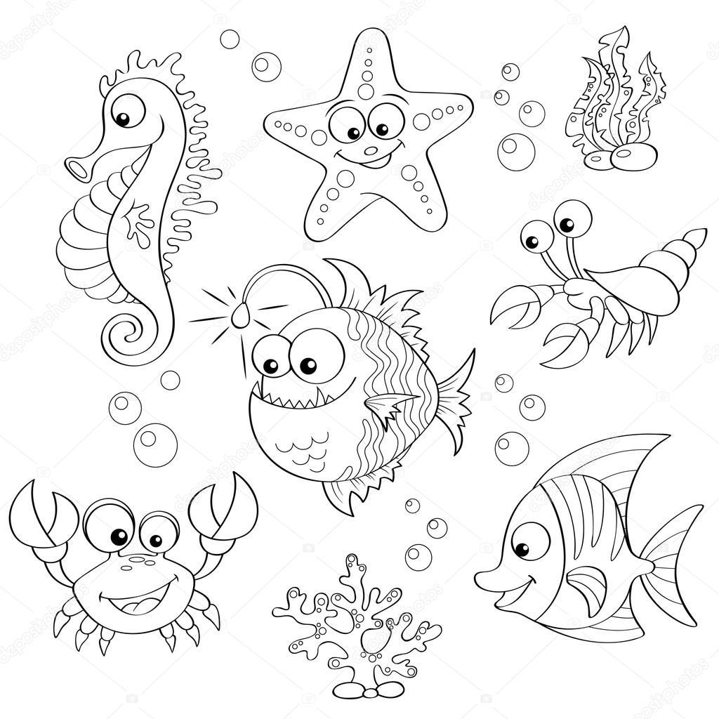 Conjunto de animales lindos dibujos animados del mar — Vector de ...