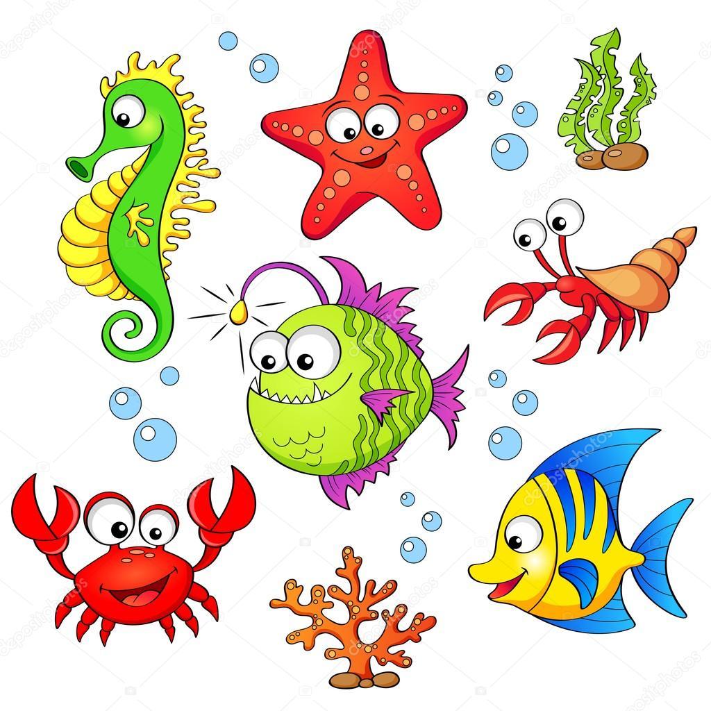 Set of cute cartoon sea animals isolated on white - Clip art animali marini ...