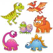 Set of cartoon dinosaurs
