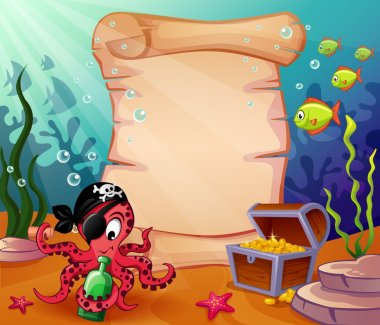 Underwater background with pirate octopus and treasures