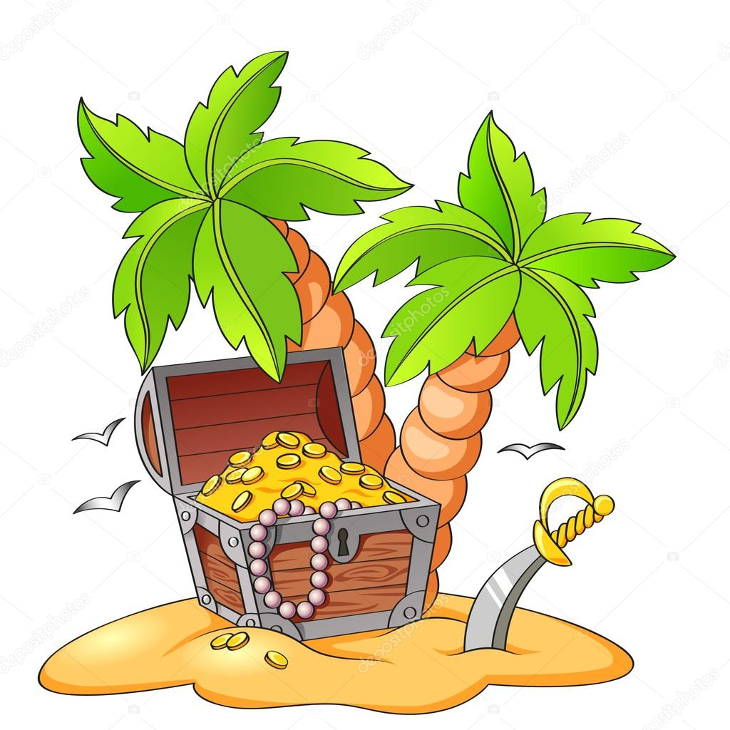 Pirate's treasure chest on deserted beach with palm trees