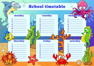 School timetable with sea animals
