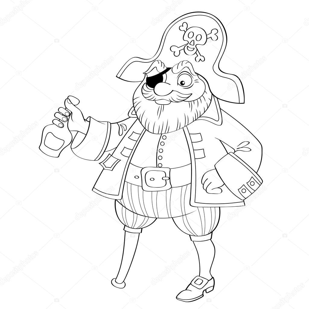 Pirata con botella de Ron — Archivo Imágenes Vectoriales © Alka5051 ...