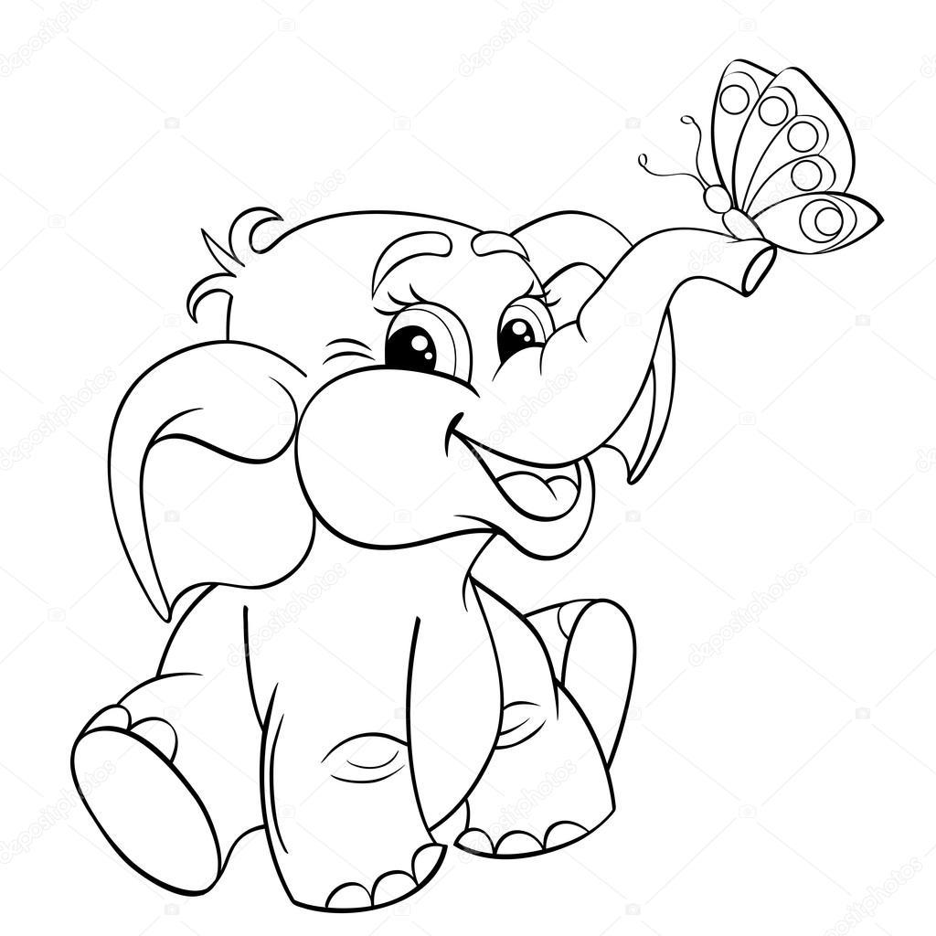 Elefante bebé de dibujos animados divertidos con — Archivo Imágenes ...