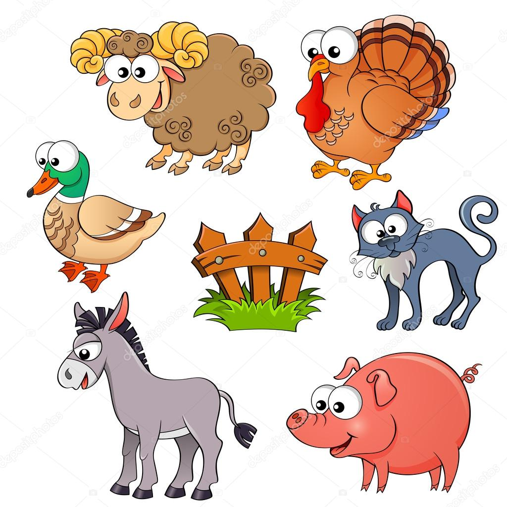 set of cute cartoon farm animals sheep turkey duck cat donkey