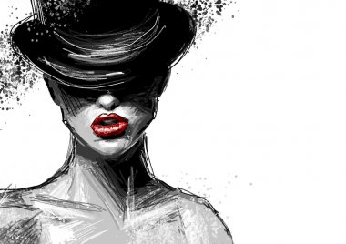Black and white beautiful fashionable sexy lady in a black hat with spray paint