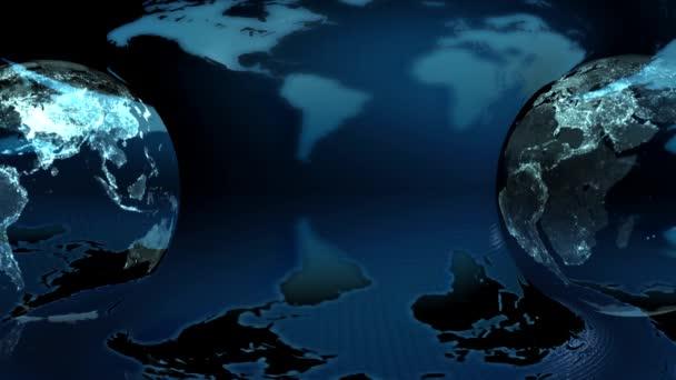 země světa na pozadí mapy země (smyčka)
