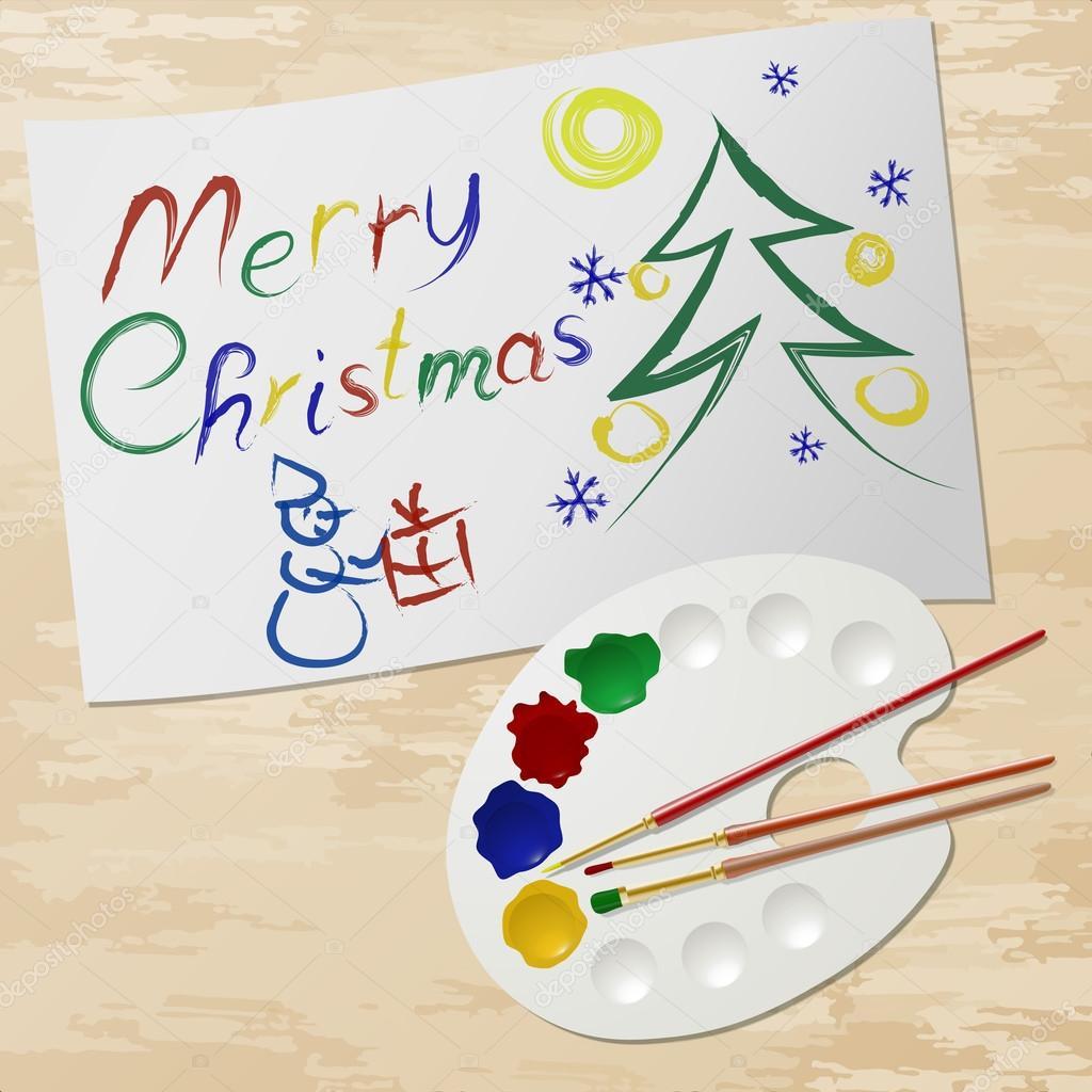 Merry En: Merry Christmas Verf En Palet