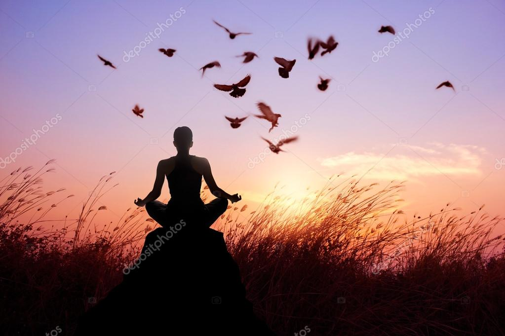 Woman Meditation And Yoga With Birds Silhouette On Nature Sunset Stock Photo