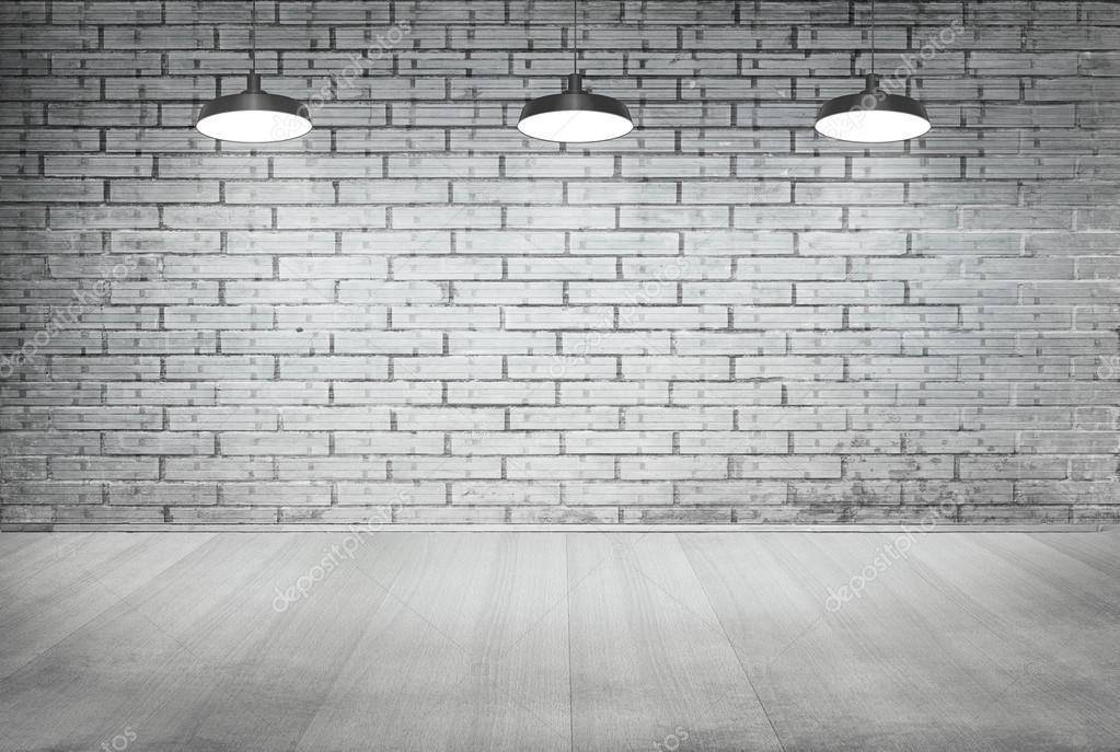 흰색 벽돌 그런 지 벽과 나무 바닥 장식 천장 램프 — 스톡 사진 ...