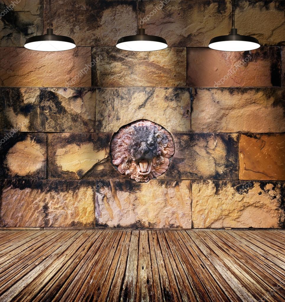 Muro di mattoni pietra e vecchio leone macchiato colorato for Mattoni e pietra americani